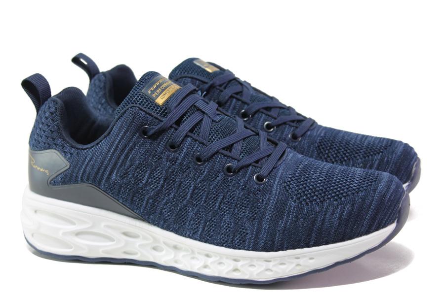 Мъжки маратонки - висококачествен текстилен материал - тъмносин - EO-13723