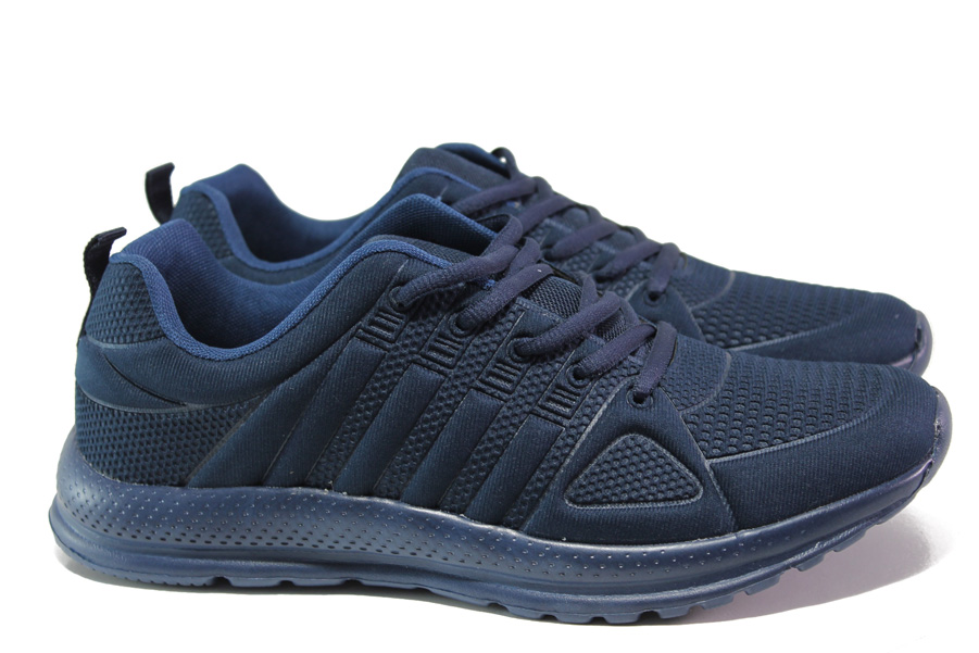 Спортни мъжки обувки - висококачествен текстилен материал - тъмносин - EO-13709