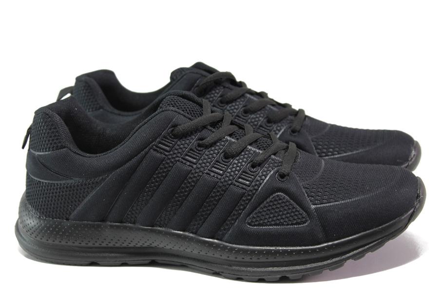 Спортни мъжки обувки - висококачествен текстилен материал - черни - EO-13708