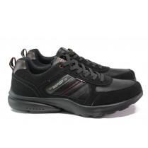 Мъжки маратонки - висококачествена еко-кожа - черни - EO-13716