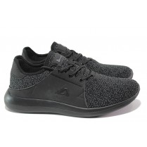 Спортни мъжки обувки - висококачествен текстилен материал - черни - EO-13814