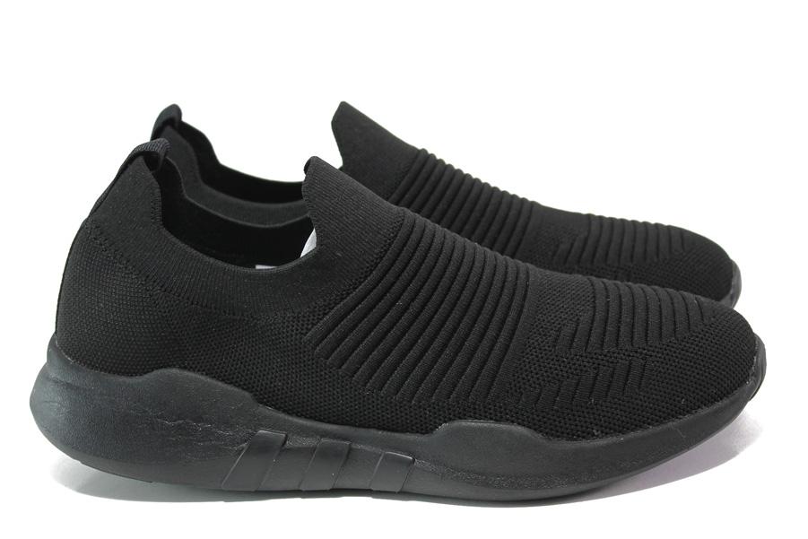 Мъжки обувки - висококачествен текстилен материал - черни - EO-13900