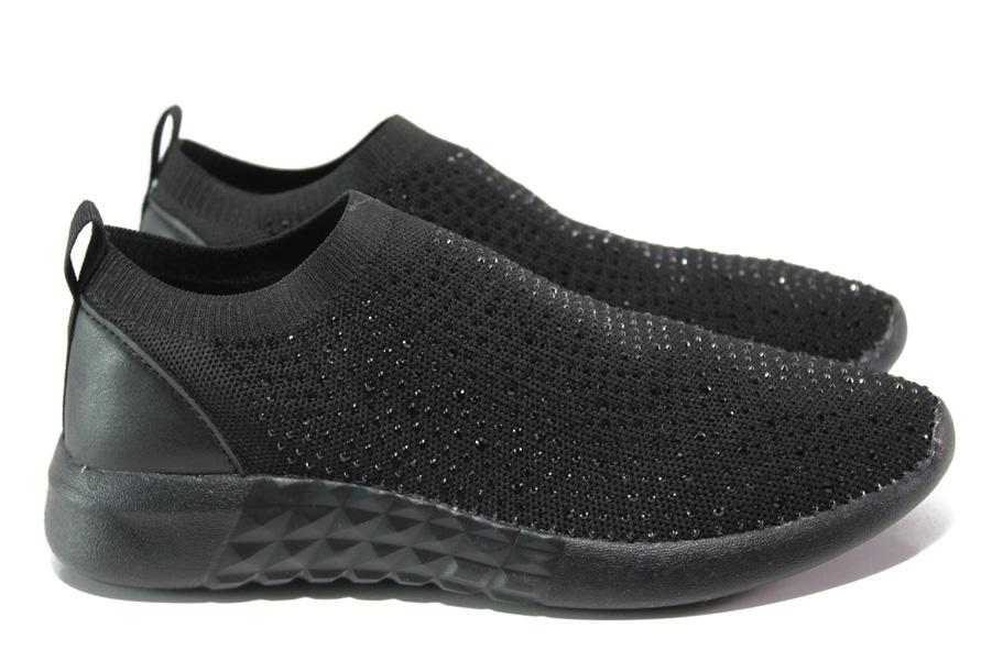 Дамски маратонки - висококачествен текстилен материал - черни - EO-13955