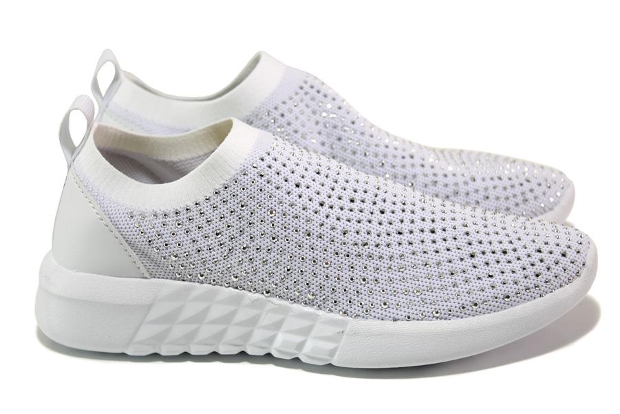 Дамски маратонки - висококачествен текстилен материал - бели - EO-13956