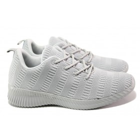 Юношески маратонки - висококачествен текстилен материал - сиви - EO-13958
