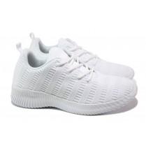 Дамски маратонки - висококачествен текстилен материал - бели - EO-13957