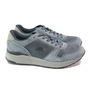 Мъжки маратонки - висококачествена еко-кожа - сини - EO-13934