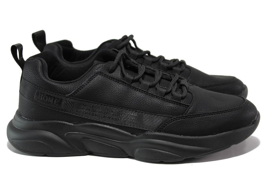Мъжки маратонки - висококачествена еко-кожа - черни - EO-14447