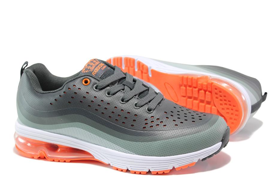 Мъжки маратонки - висококачествена еко-кожа - сиви - EO-14445