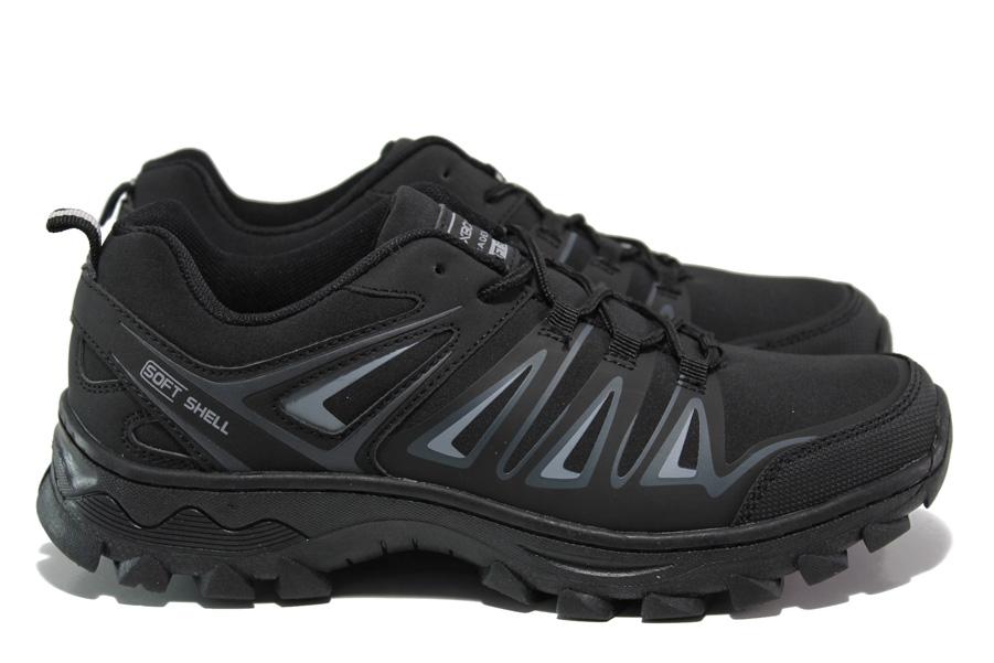 Мъжки маратонки - висококачествен текстилен материал - черни - EO-14446