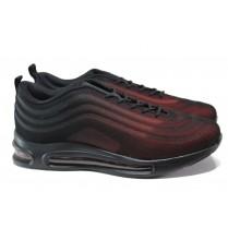 Мъжки маратонки - висококачествен текстилен материал - червени - EO-14442
