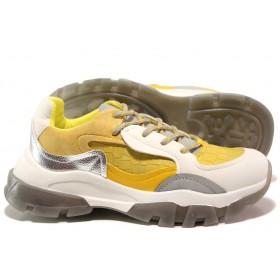 Юношески маратонки - висококачествена еко-кожа и велур - жълти - EO-14452