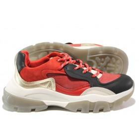 Юношески маратонки - висококачествена еко-кожа и велур - червени - EO-14454