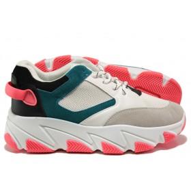 Дамски спортни обувки - висококачествена еко-кожа и велур - розови - EO-14448