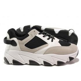 Юношески маратонки - висококачествена еко-кожа и велур - черни - EO-14450