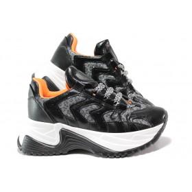 Дамски спортни обувки - еко-кожа с текстил - черни - EO-14495