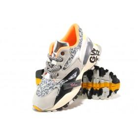 Дамски спортни обувки - еко-кожа с текстил - сиви - EO-14494