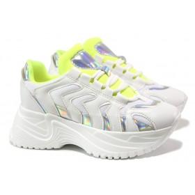 Дамски спортни обувки - еко-кожа с текстил - бели - EO-14496