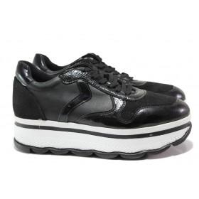 Дамски спортни обувки - висококачествена еко-кожа - черни - EO-14497