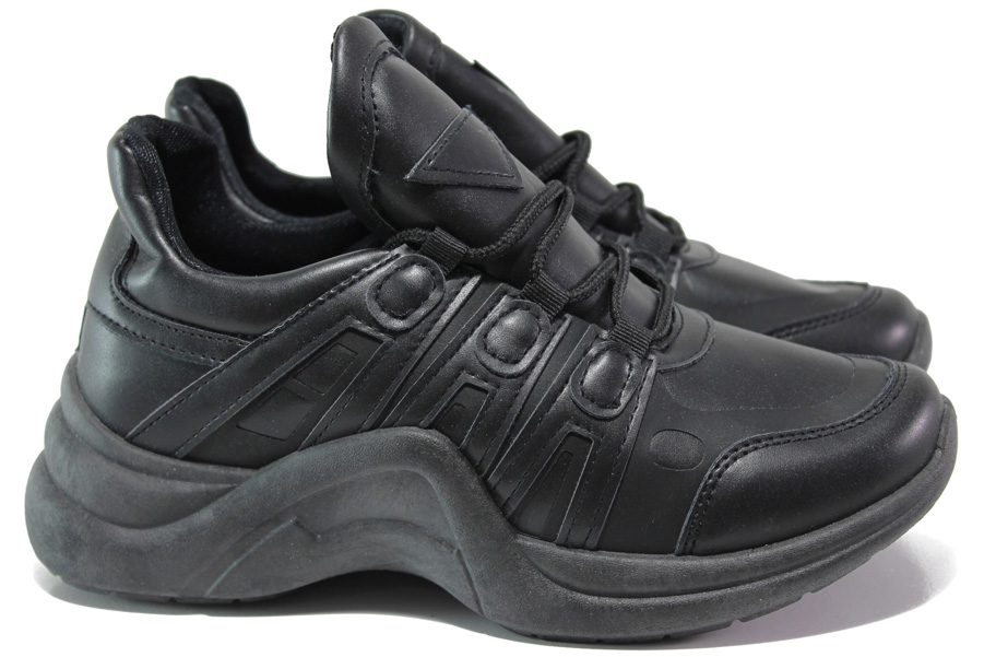 Дамски маратонки - висококачествена еко-кожа - черни - EO-14591