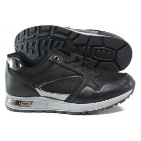 Дамски маратонки - висококачествена еко-кожа - черни - EO-14590