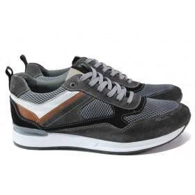 Спортни мъжки обувки - естествен велур с еко-кожа - сиви - EO-15072