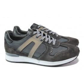 Спортни мъжки обувки - естествен велур с еко-кожа - сиви - EO-15073