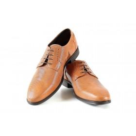 Елегантни мъжки обувки - естествена кожа - светлокафяв - EO-18329