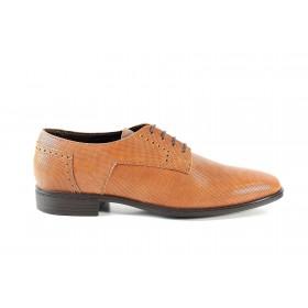 Елегантни мъжки обувки - естествена кожа - светлокафяв - EO-15024