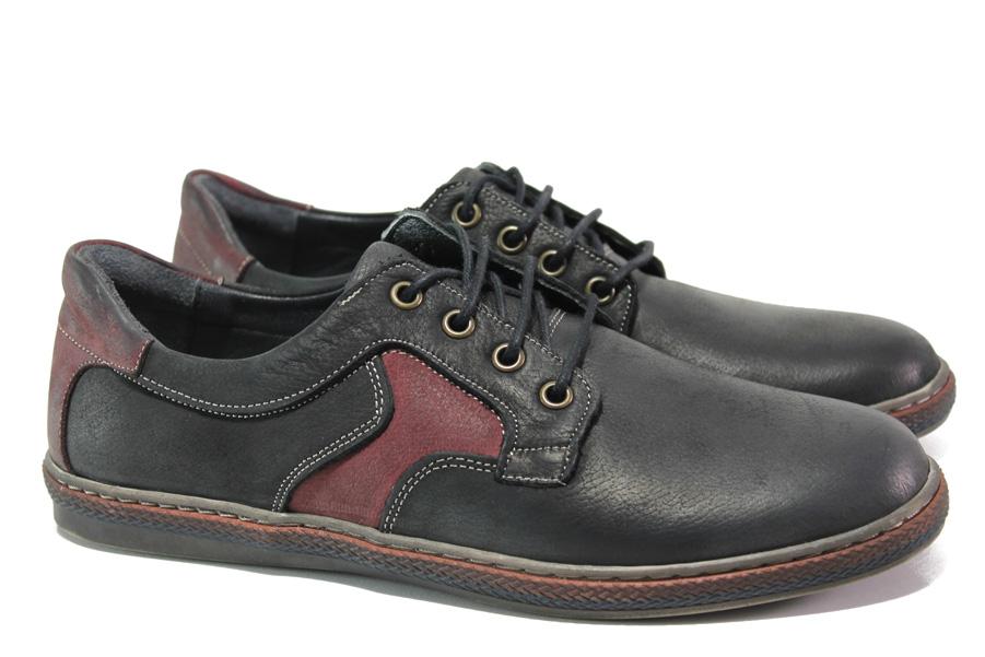 Мъжки обувки - естествена кожа - черни - EO-13586