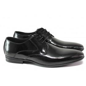 Мъжки обувки - естествена кожа-лак - черни - EO-13594
