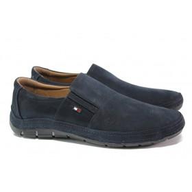 Мъжки обувки - естествен набук - тъмносин - EO-13591
