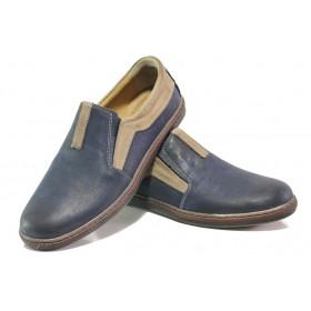 Мъжки обувки - естествена кожа - тъмносин - EO-13584
