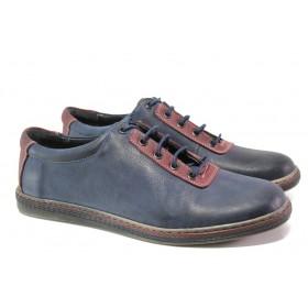 Мъжки обувки - естествена кожа - тъмносин - EO-13588