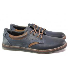 Мъжки обувки - естествена кожа - тъмносин - EO-13585