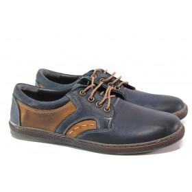 Мъжки обувки - естествена кожа - тъмносин - EO-13587