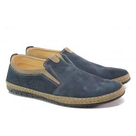 Мъжки обувки - естествен набук - тъмносин - EO-13589