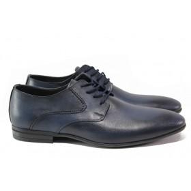 Мъжки обувки - естествена кожа - тъмносин - EO-13666