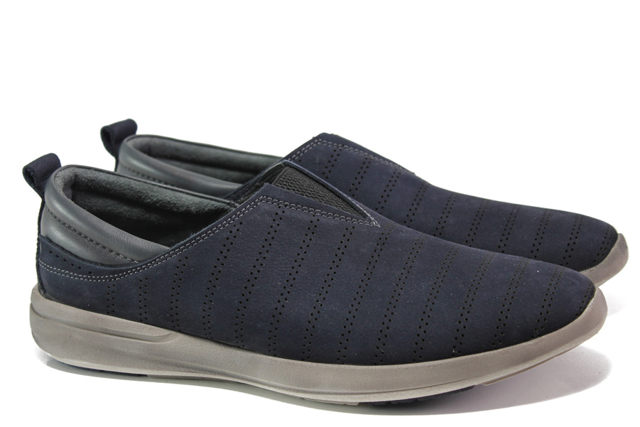 Мъжки обувки - естествен набук - тъмносин - EO-13686
