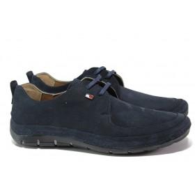 Мъжки обувки - естествен набук - тъмносин - EO-13685