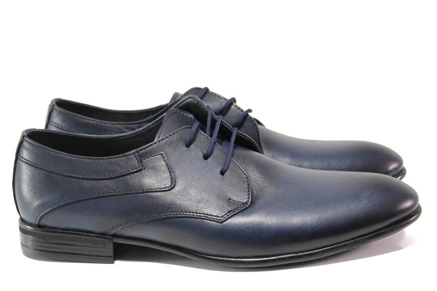 Мъжки обувки - естествена кожа - тъмносин - EO-13804