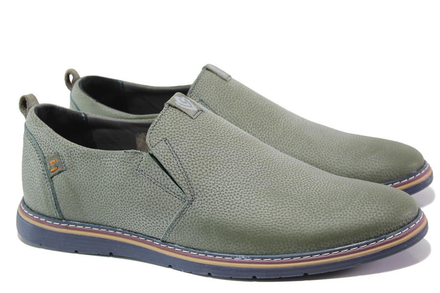Мъжки обувки - естествена кожа - зелени - EO-13825