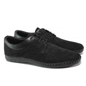 Мъжки обувки - естествен набук - черни - EO-13901