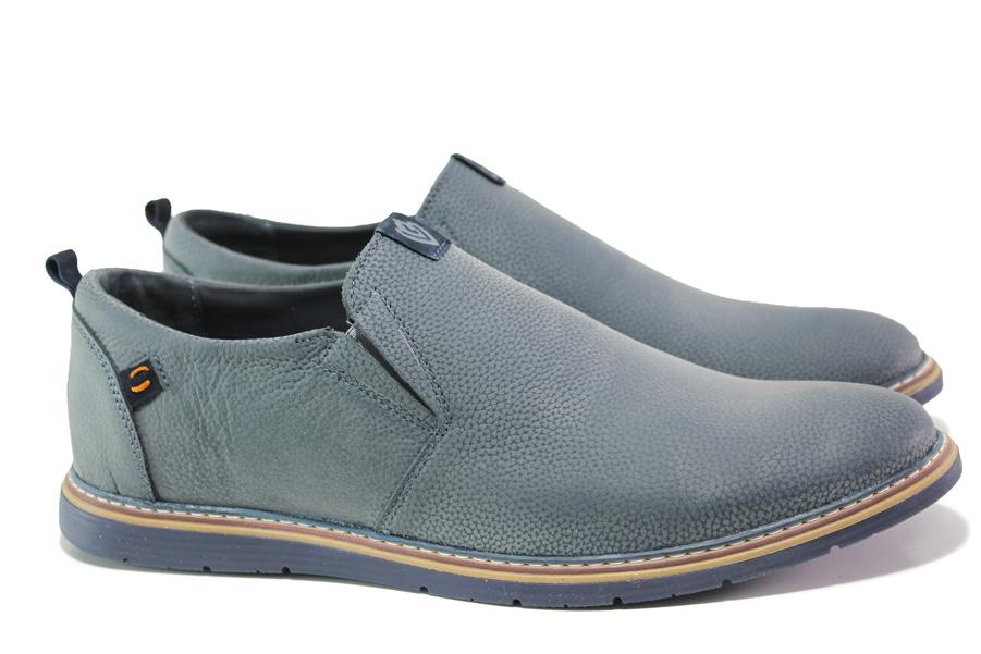 Мъжки обувки - естествена кожа - сини - EO-13936