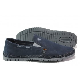 Мъжки обувки - естествен набук - тъмносин - EO-13938