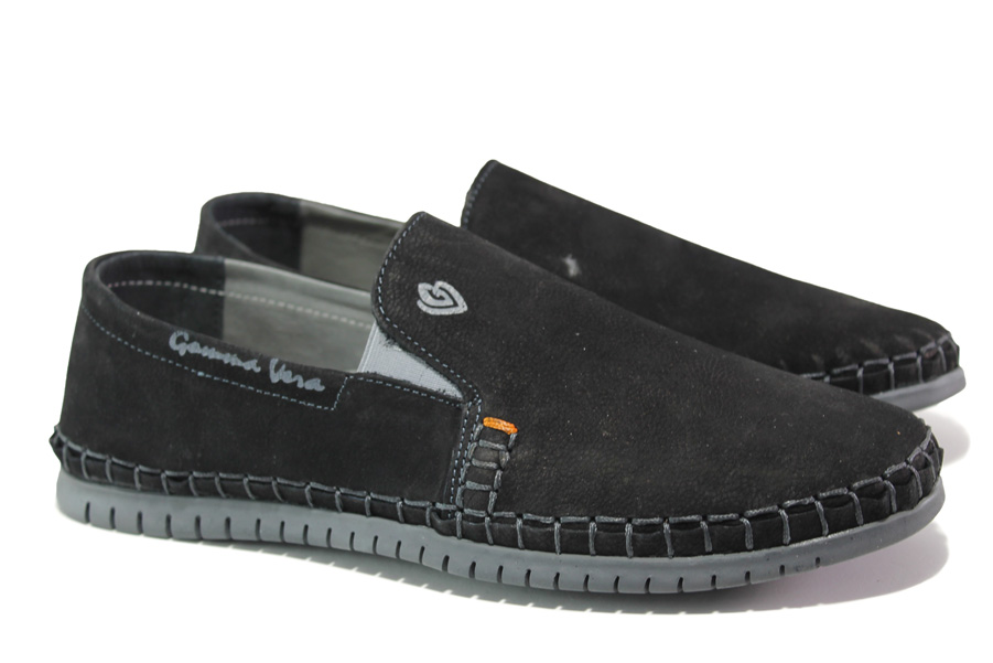 Мъжки обувки - естествен набук - черни - EO-13939