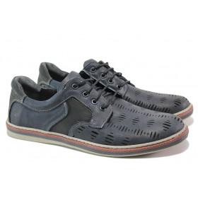 Мъжки обувки - естествена кожа - тъмносин - EO-13982