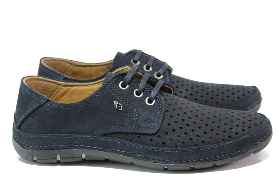 Мъжки обувки - естествена кожа - тъмносин - EO-13987
