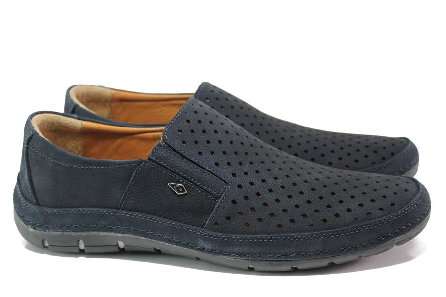 Мъжки обувки - естествена кожа - тъмносин - EO-13991
