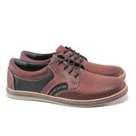 Мъжки обувки - естествена кожа - бордо - EO-13989
